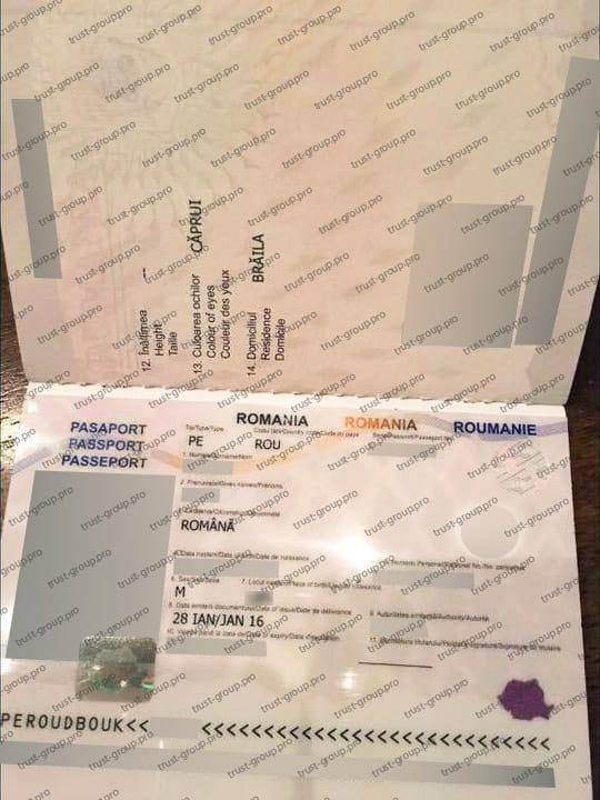 Заграничный паспорт гражданина Румынии